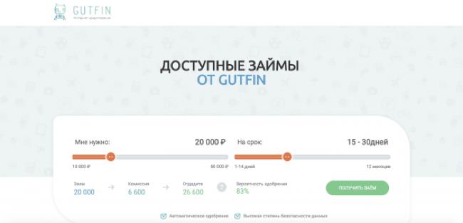 Gutfin – Кредит до 80 000 ₽