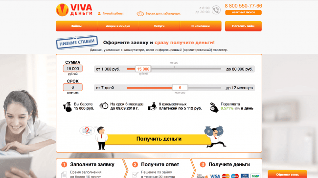 VIVA Деньги – Кредит до 80 000 ₽